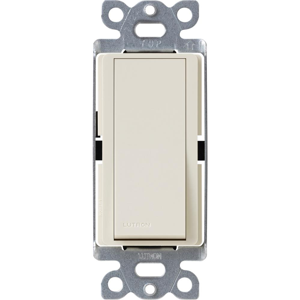 3 Way Double Pole Switch Lutron Claro 15 Amp Rocker With Locator Light Almond