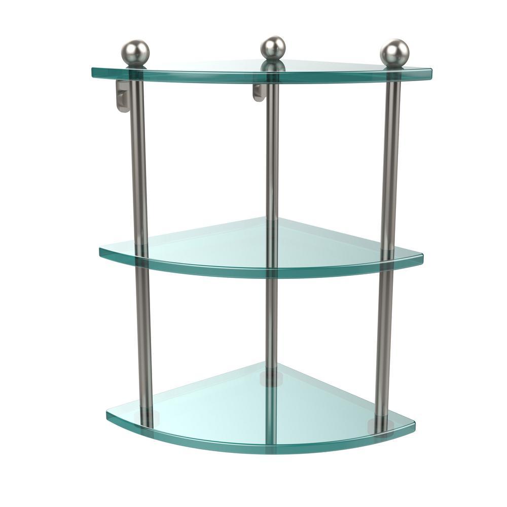 Allied Brass 8 in. L x 15 in. H x 8 in. W 3-Tier Corner Clear Glass ...