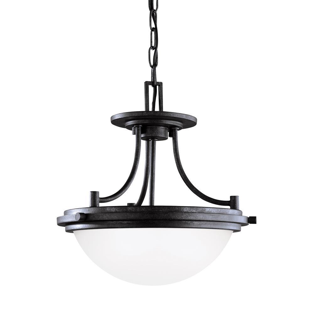 Winnetka 2-Light Blacksmith Semi-Flushmount Convertible Pendant with LED Bulbs