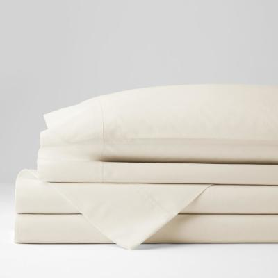 Classic 4-Piece Ivory Solid 210 Thread Count Cotton Percale California King Sheet Set