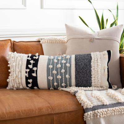Kayst Cream/Medium Gray/Black Woven Texture Polyester Fill 12 in. x 30 in. Decorative Pillow