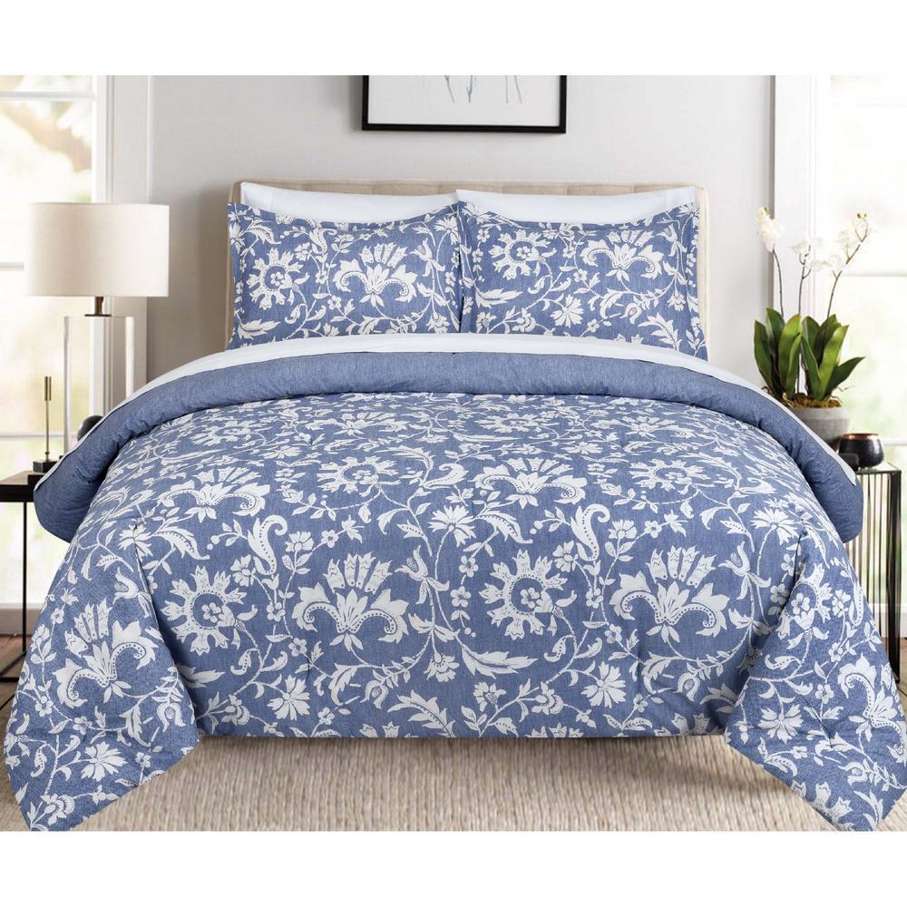 Porcelain Floral Full and Queen Comforter Set