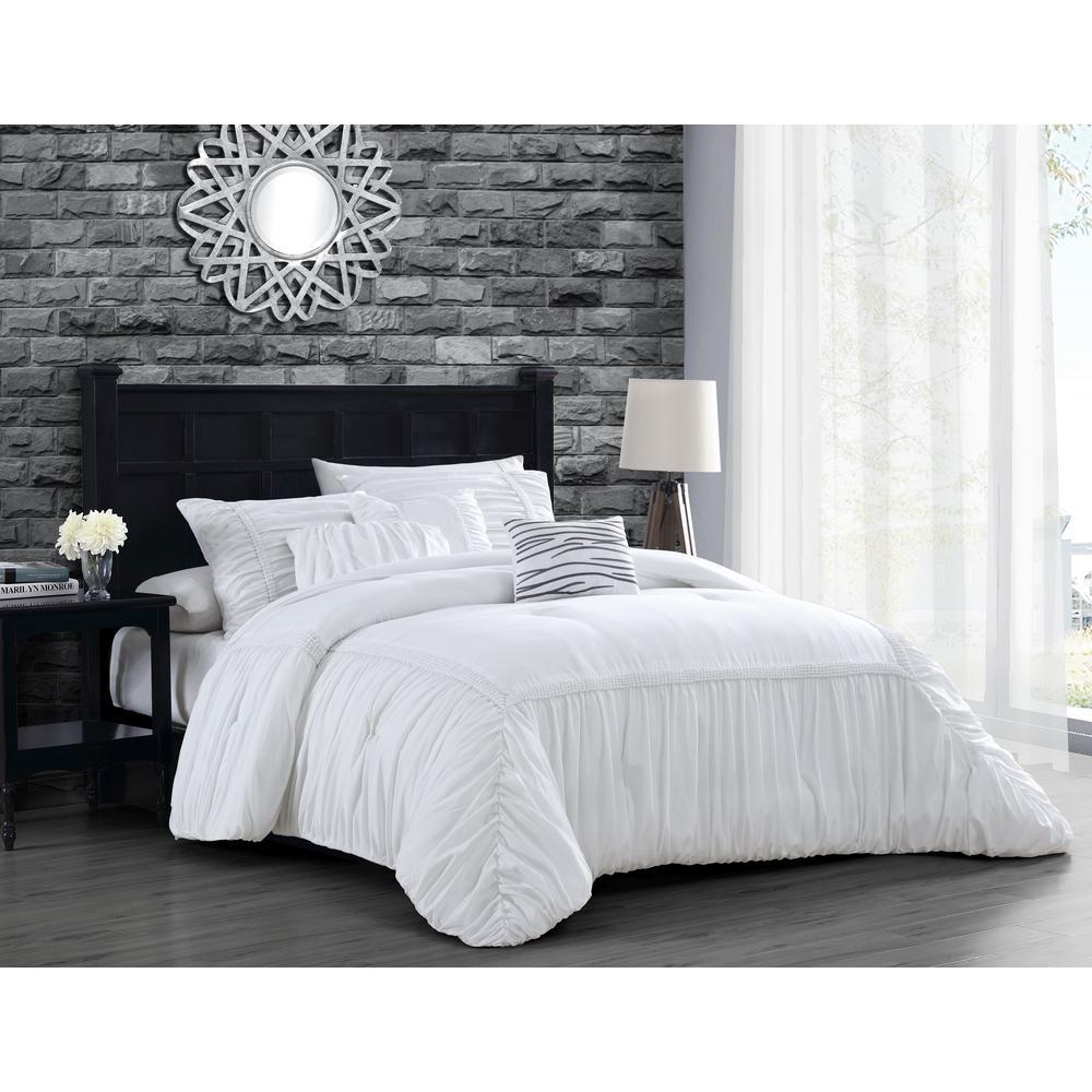 Zurich Elastic Hotel Queen White Comforter Set With Throw Pillows