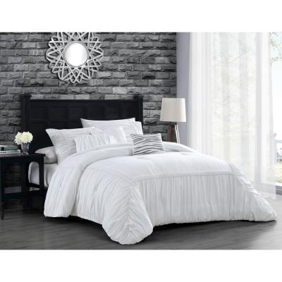 Zurich Elastic Hotel Queen White Comforter Set with Throw Pillows