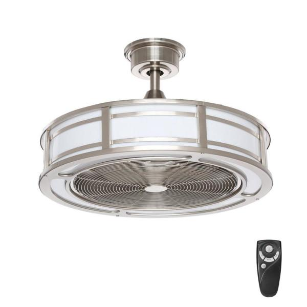 Home Decorators Collection Brette Ii 23 In Led Indoor Outdoor Brushed Nickel Ceiling Fan With Light And Remote Control Am382b Bn The Home Depot