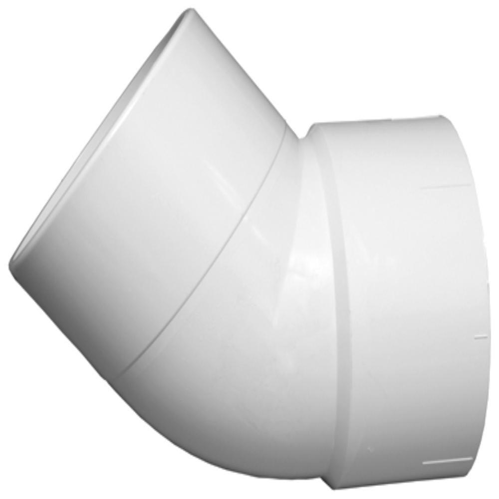 8 in. PVC DWV 45-Degree 1/8 Spigot x Hub Street Elbow Fitting