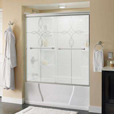 Silverton 60 in. x 58-1/8 in. Semi-Frameless Sliding Bathtub Door in Chrome with Tranquility Glass