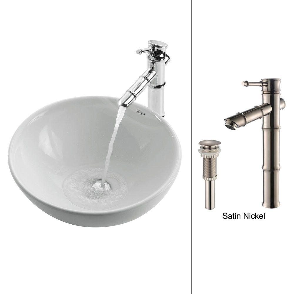 KRAUS Vessel Sink in White with Bamboo Faucet in Satin Nickel-DISCONTINUED