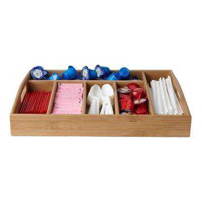 Serving Tray with Handles 6 Compartment Bamboo Brown