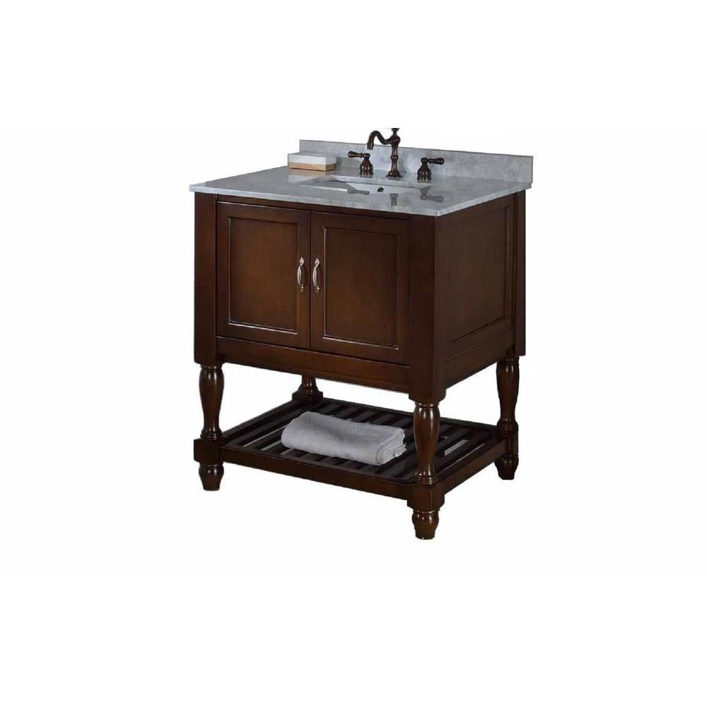 Direct vanity sink Mission Turnleg Spa 32 in. Vanity in Dark Brown with Marble Vanity Top in Carrara White with White Basin