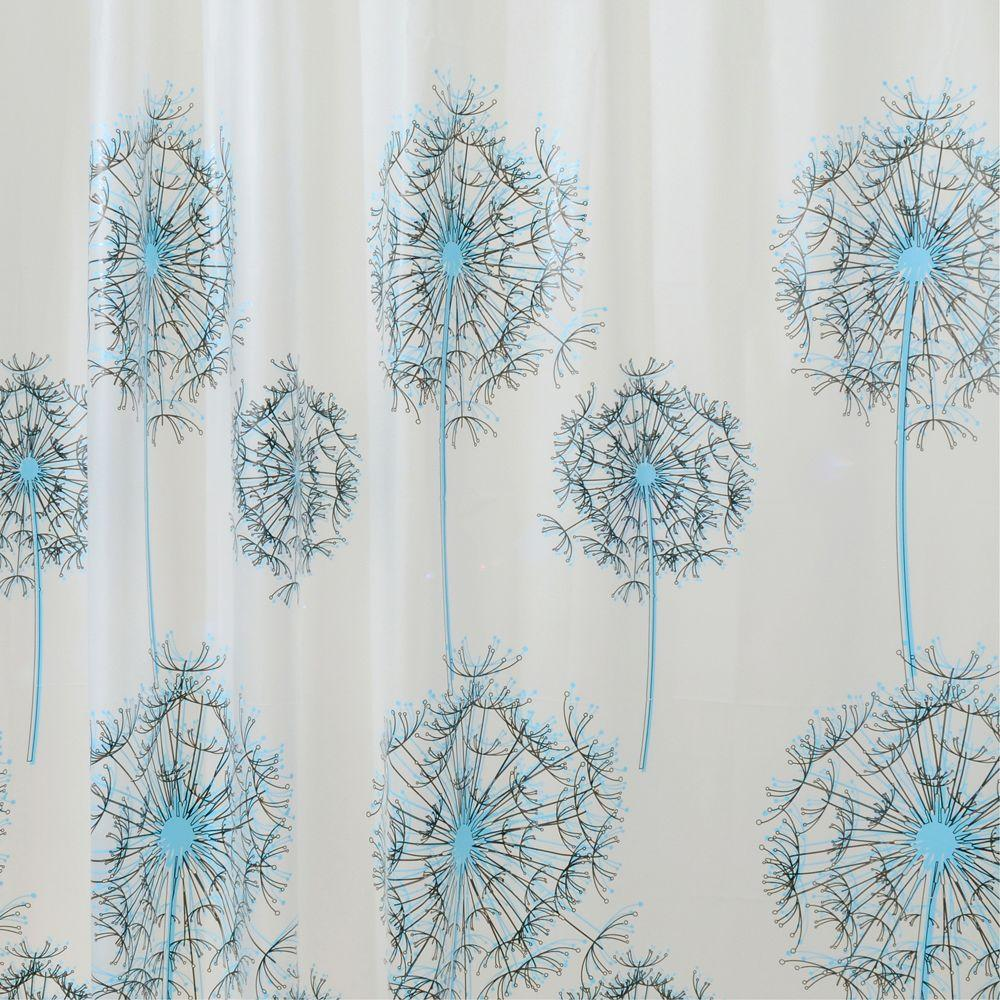 interDesign Allium Shower Curtain in Blue/Black-29280 - The Home Depot