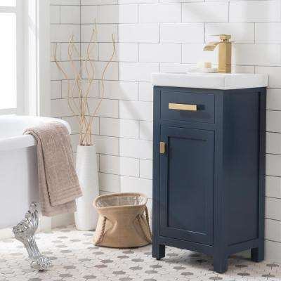 MIA 18 in. W Bath Vanity in Monarch Blue Finish with Ceramics Integrated Vanity Top with White Basin
