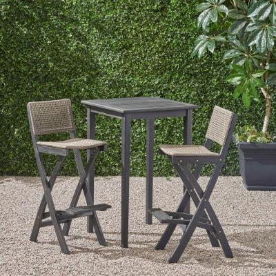Polaris Dark Grey 3-Piece Wood Square 41 in Outdoor Serving Bar Set