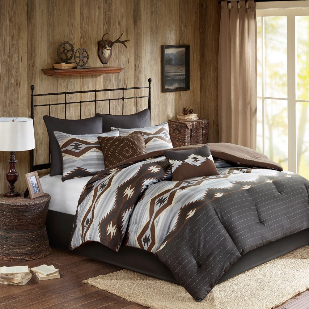Bitter 8-Piece Grey/Brown Queen Comforter Set