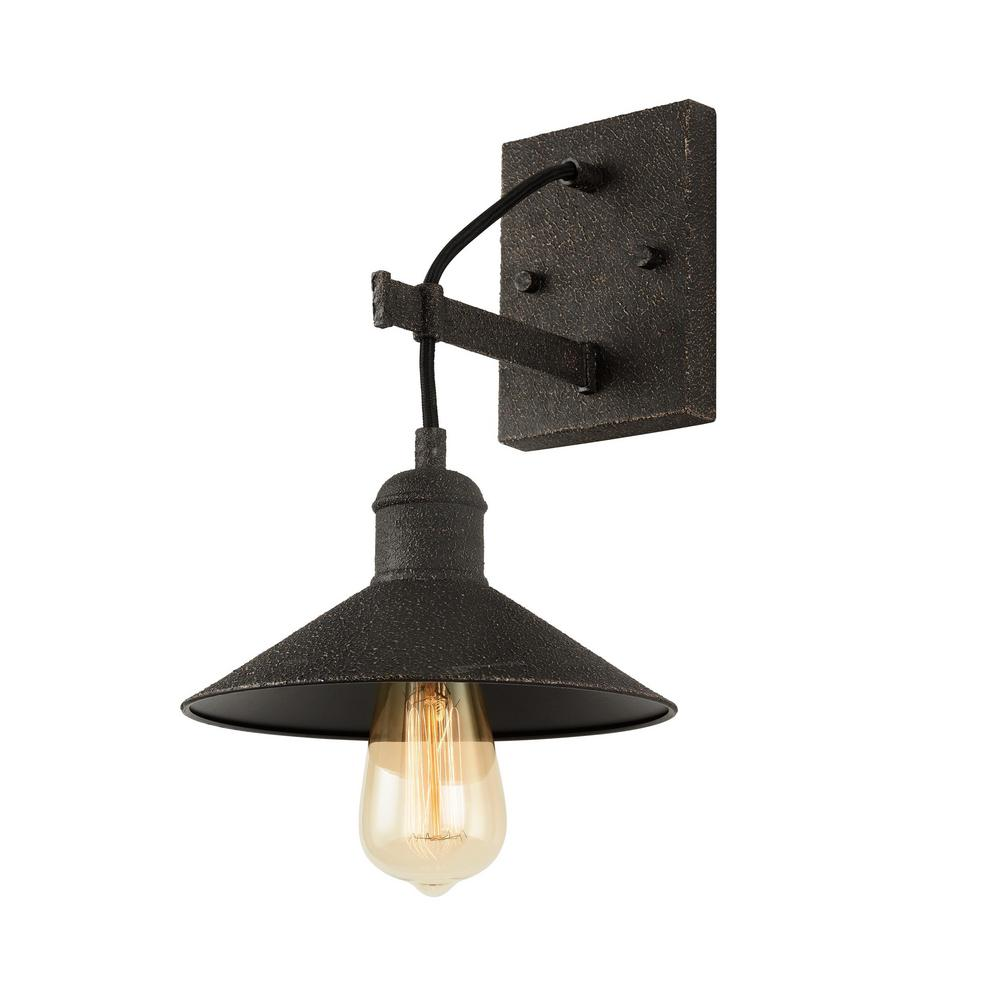 Home Decorators Collection Halstead 10 in. 1-Light Vintage Bronze Wall Sconce with Metal Shade
