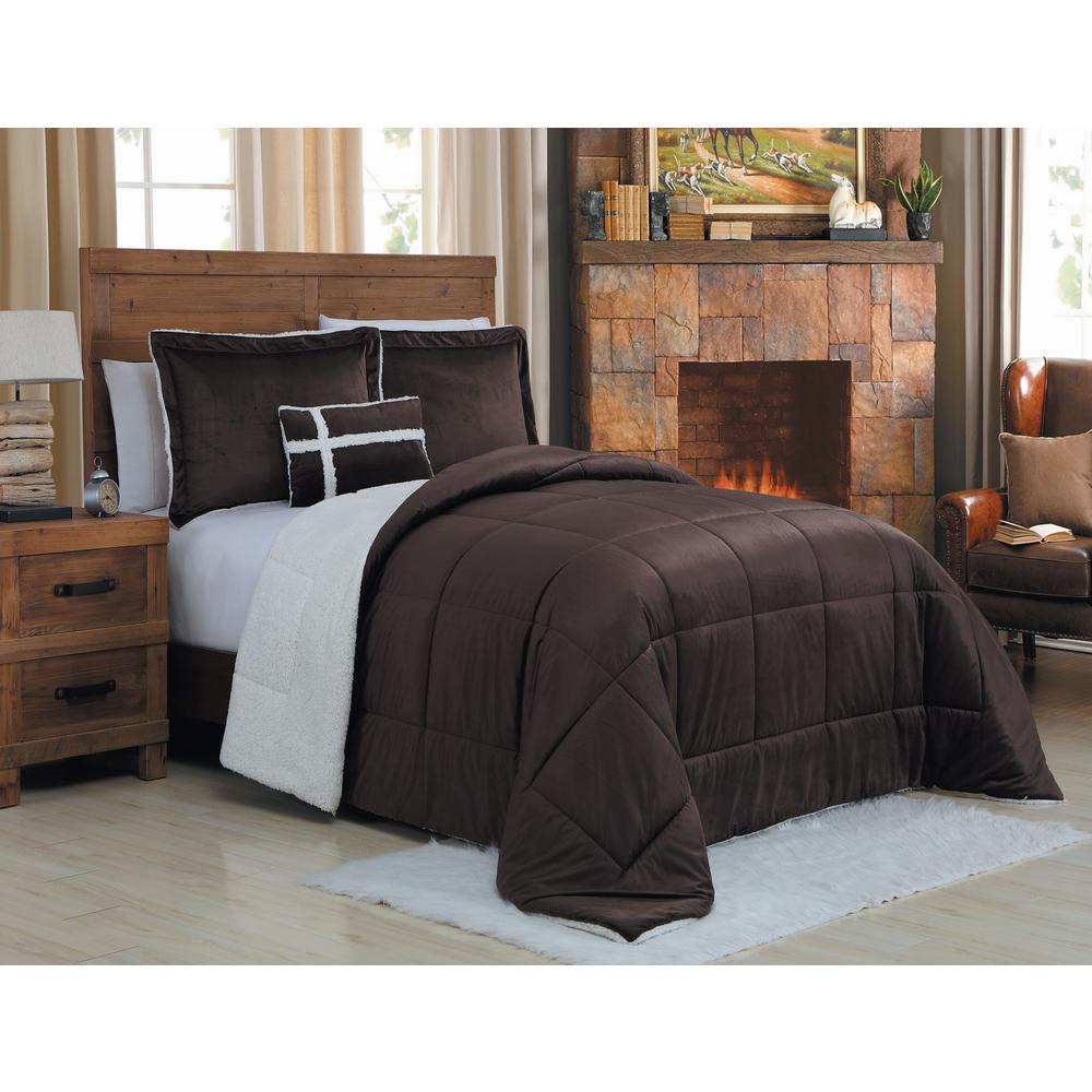 Micro Sherpa 4-Piece Queen Chocolate Comforter