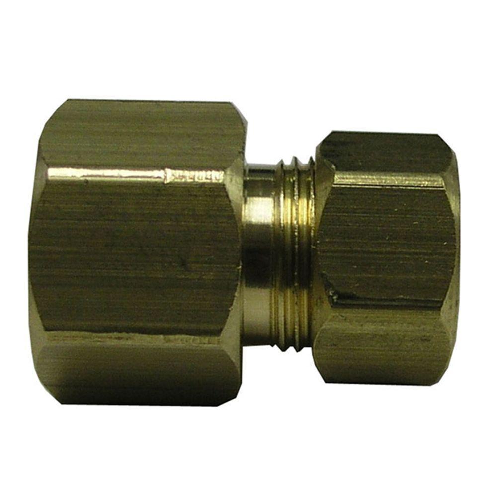 3/8 in. O.D. x 3/8 in. Fine Thread Fl Lead-Free Brass Compression Adapter