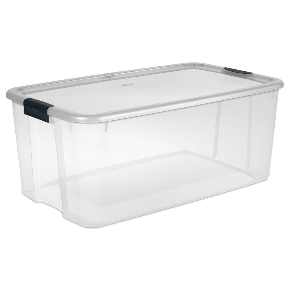 Sterilite 116 Qt. Ultra Storage Box, Clear Base With Clea...