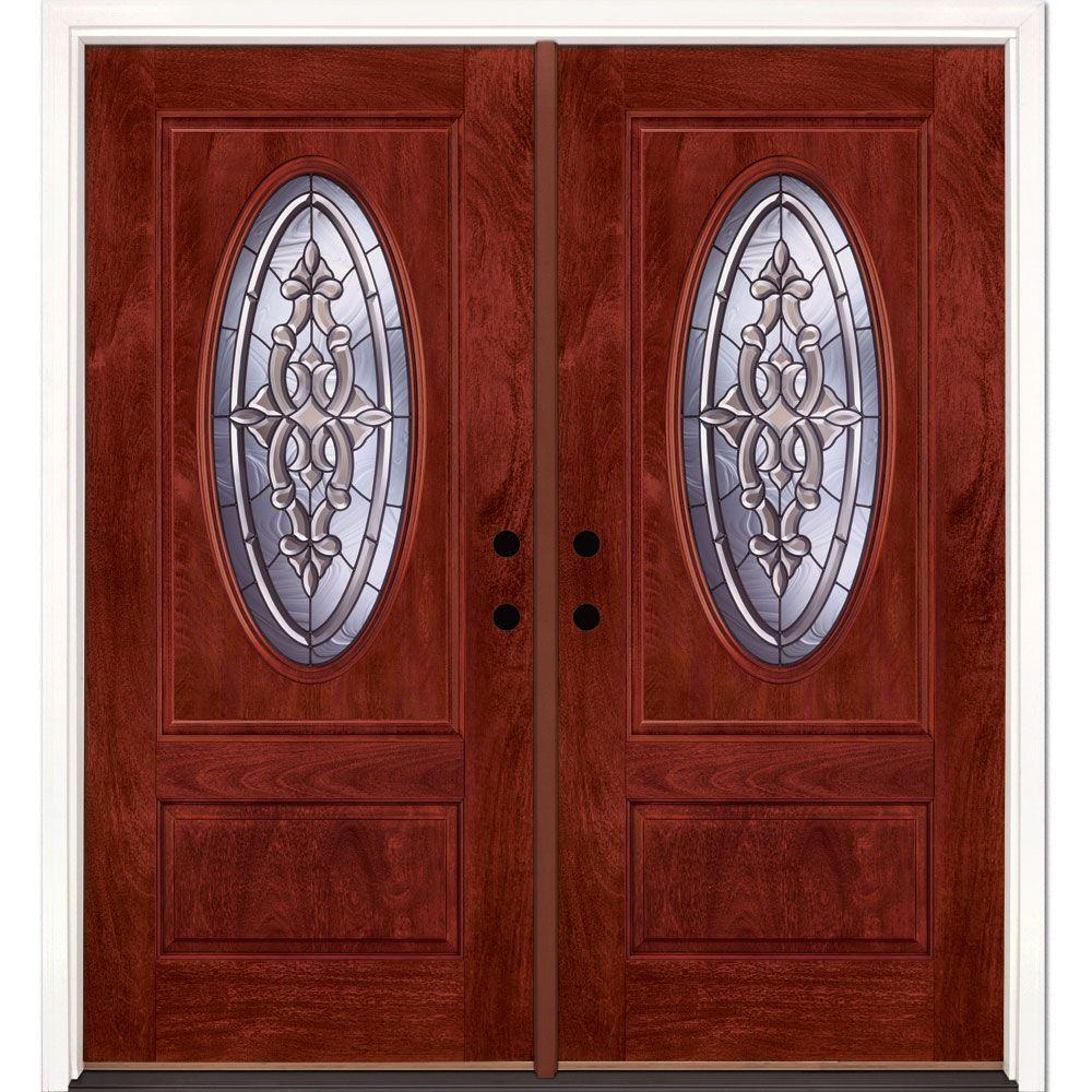 Feather River Doors 74 in.x81.625 in. Silverdale Patina 3/4 Oval Lt Stained Cherry Mahogany Right-Hand Fiberglass Double Prehung Front Door