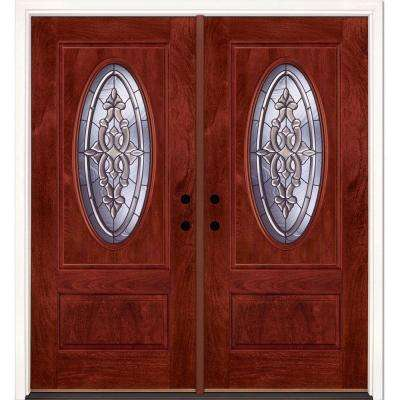 74 in.x81.625 in. Silverdale Patina 3/4 Oval Lt Stained Cherry Mahogany Right-Hand Fiberglass Double Prehung Front Door