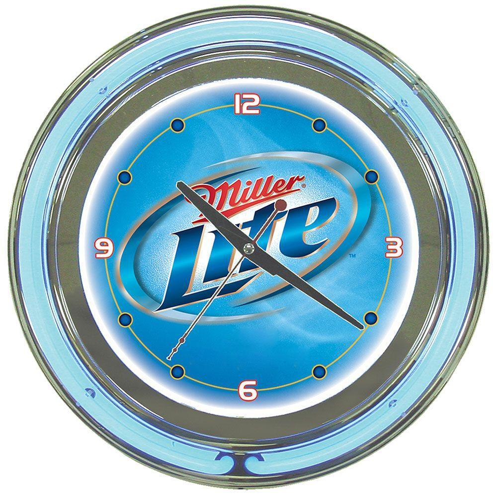 Trademark Global 14 in. Miller Lite Vapor Design Neon Wall Clock