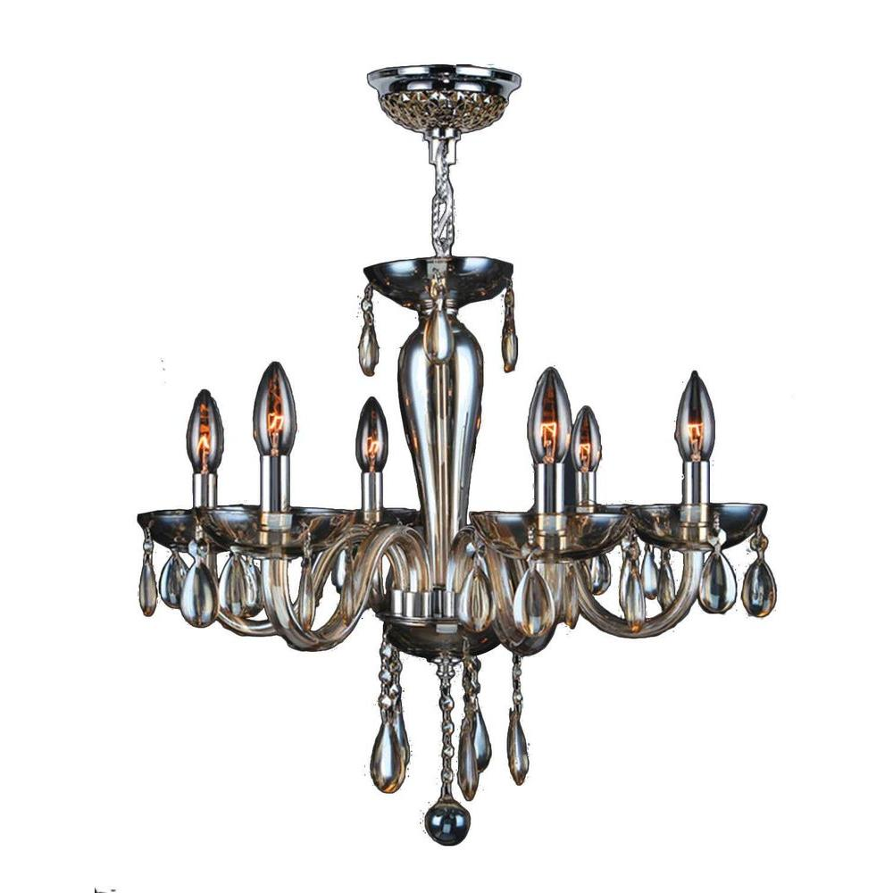 Gatsby 6-Light Polished Chrome Chandelier with Golden Teak Hand-Blown Glass with