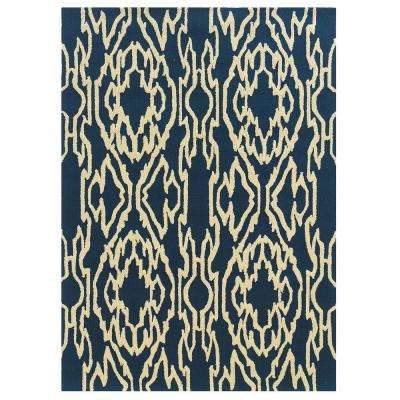 Le Soliel Collection Navy and Ivory 2 ft. x 3 ft. Outdoor Area Rug