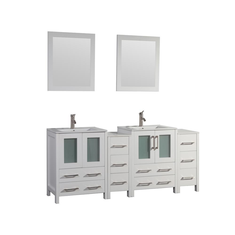 Brescia 72 in. W x 18 in. D x 36 in. H Bath Vanity in White with Vanity Top in White with White Basin and Mirror