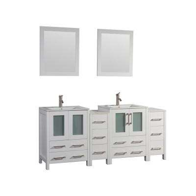 Brescia 72 in. W x 18 in. D x 36 in. H Bath Vanity in White with Vanity Top in White with White Basin and Mirror