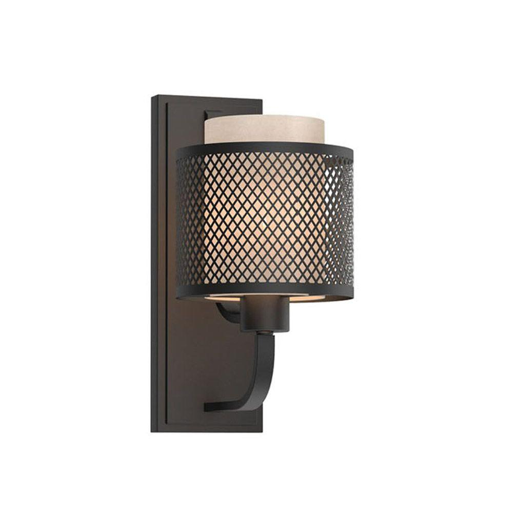 1 Light Bronze Mesh Wall Sconce With Inner Cream Fabric Shade