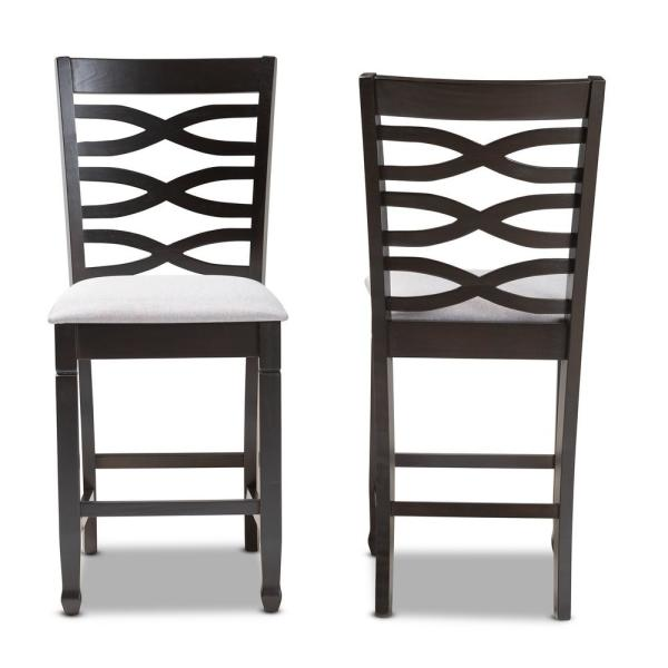 Lanier 43 in. Gray and Espresso Bar Stool (Set of 2)