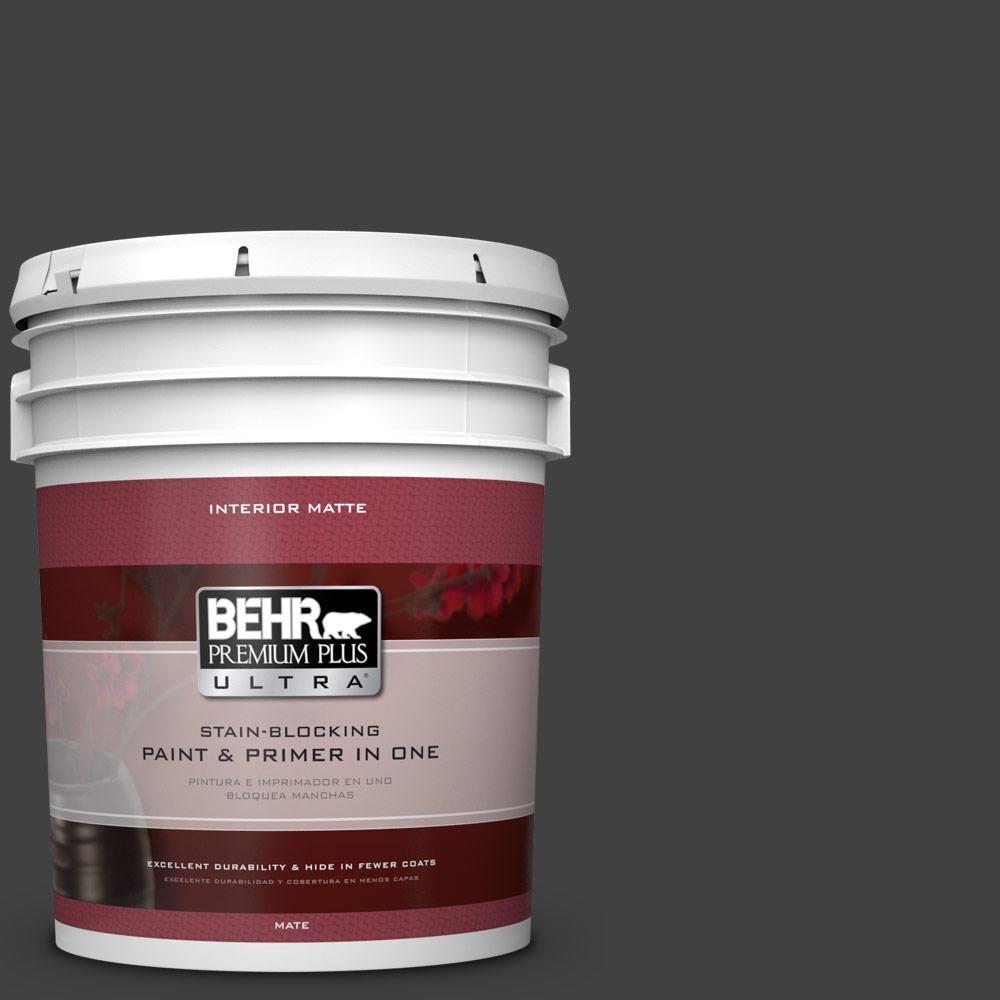5 gal. #BNC-38 Spade Black Matte Interior Paint