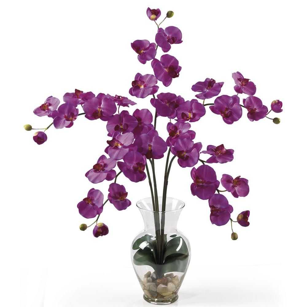 31 in. Phalaenopsis Liquid Illusion Silk Flower Arrangement in Orchid