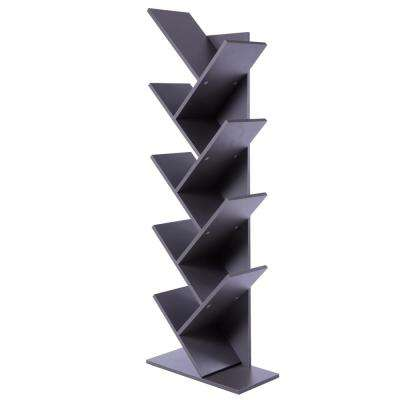Wooden Gray 9-Shelf Tree Magazine CD Storage Bookcase
