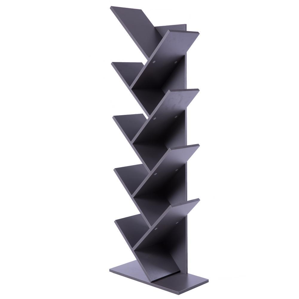 Basicwise Wooden Gray 9-Shelf Tree Magazine CD Storage Bookcase QI003457.G