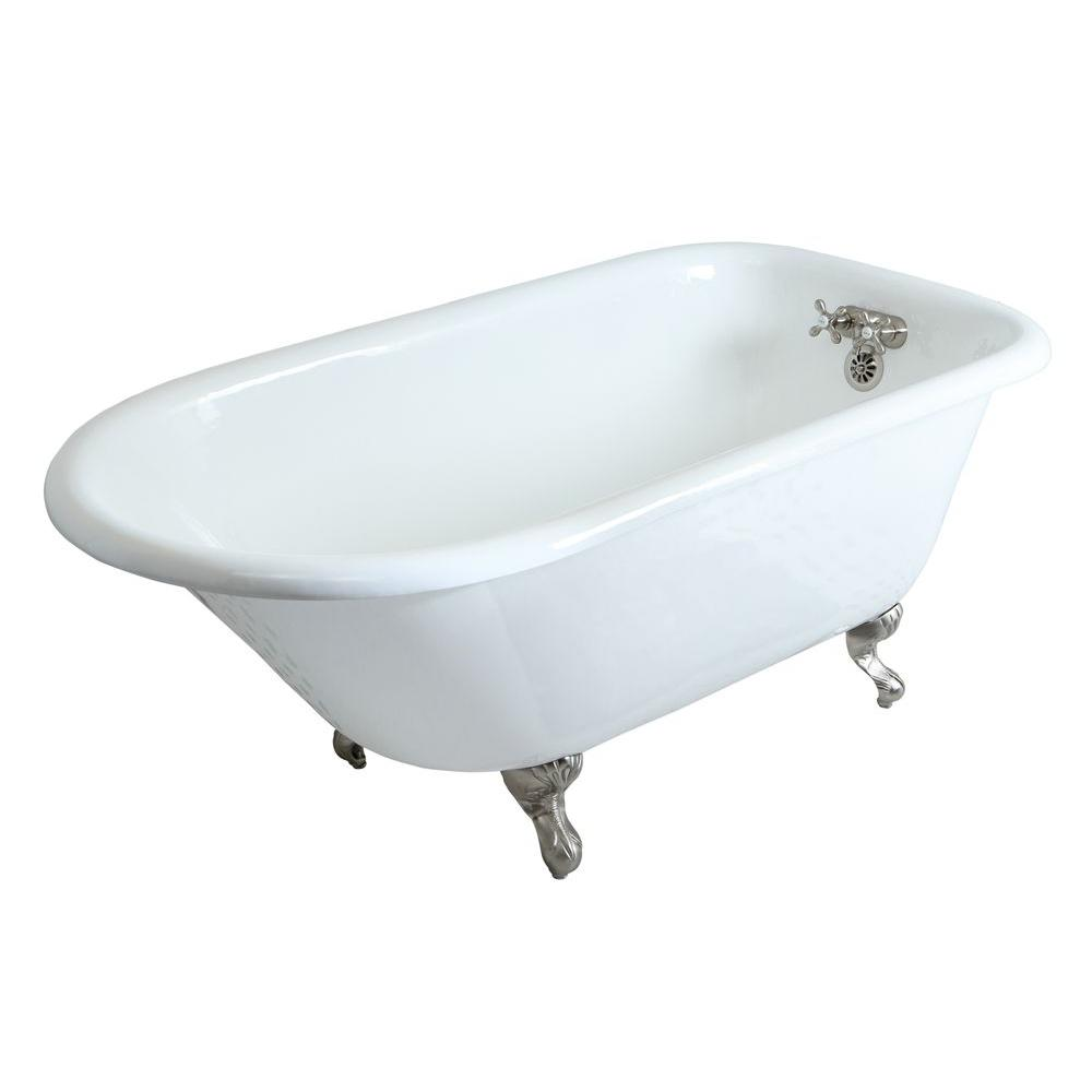 5 ft. Cast Iron Satin Nickel Claw Foot Roll Top Tub
