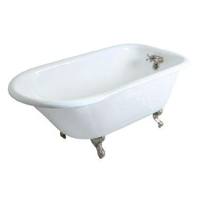 60 in. Cast Iron Brushed Nickel Roll Top Clawfoot Bathtub with 3-3/8 in. Centers in White