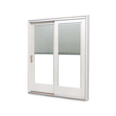 71-1/4 in. x 79-1/2 in. 400 Frenchwood White/Pine Left-Hand Sliding Patio Door with  Built-In Blinds and ORB Hardware