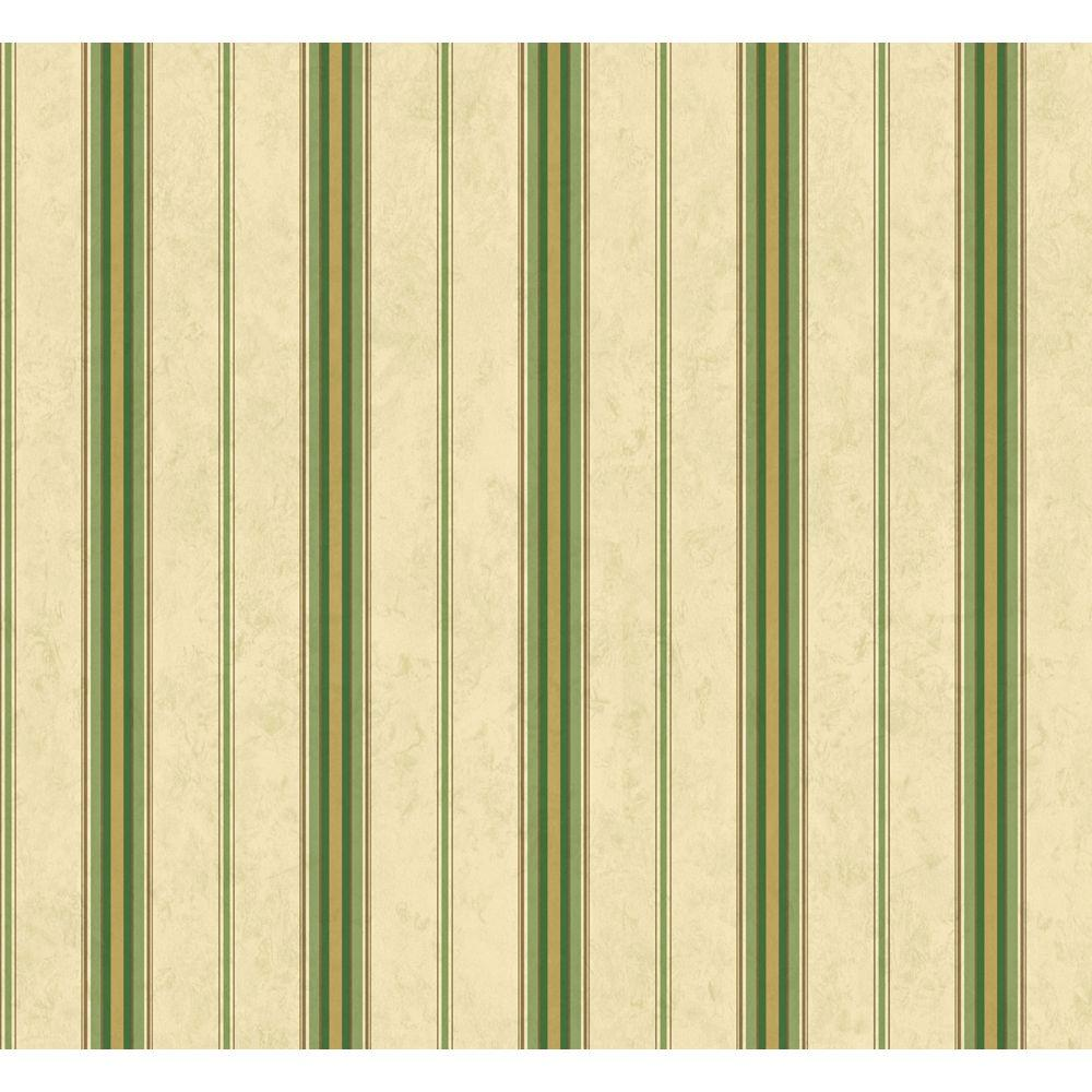 The Wallpaper Company 56 sq. ft. Green and Beige Simple Stripe Wallpaper-DISCONTINUED