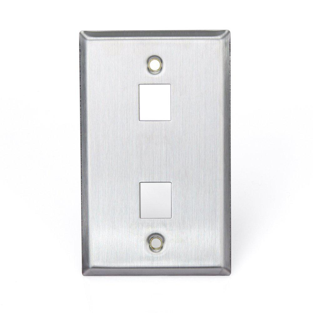 1-Gang QuickPort Standard Size 2-Port Wallplate, Stainless Steel