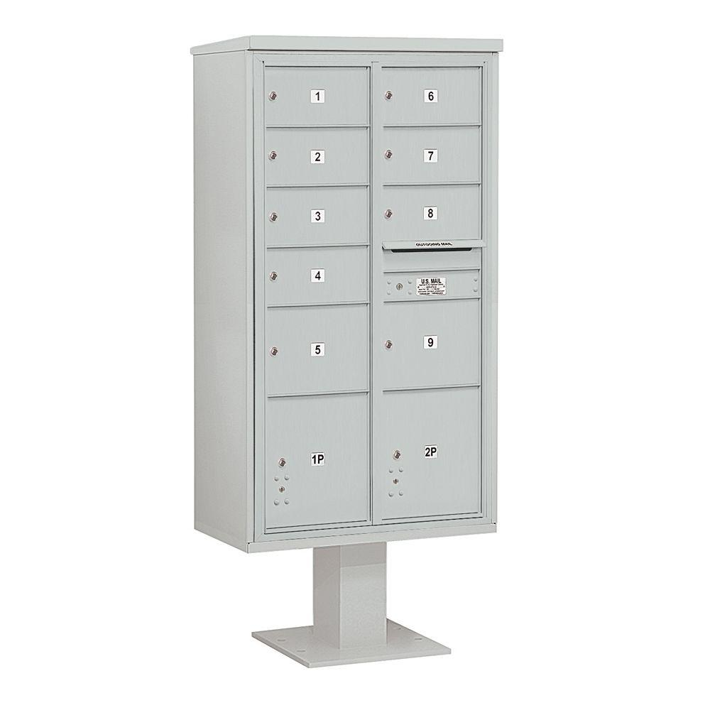 3400 Series Gray Mount 4C Pedestal Mailbox with 7 MB2/2 MB3