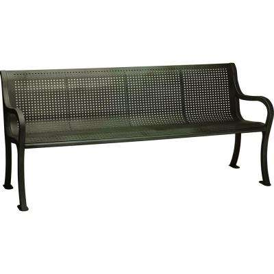 Oasis 6 ft. Perforated Bench with Back in Textured Bronze