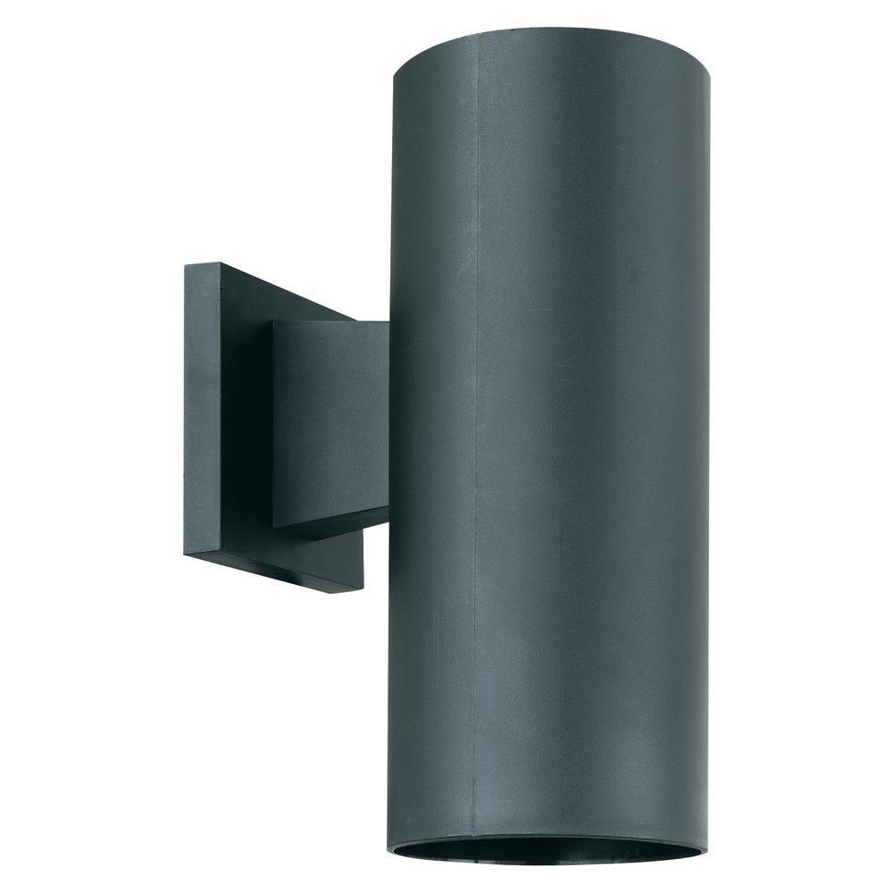 1-Light Black Outdoor Wall Mount Cylinder