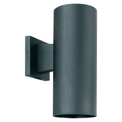 1-Light Black Outdoor Wall Mount Cylinder