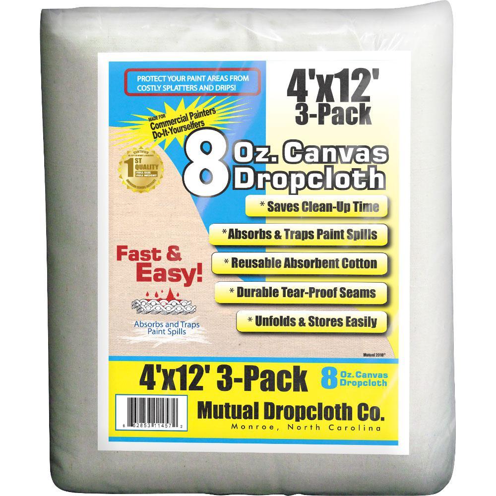 4 ft. x 12 ft. 8 oz. Natural Canvas Drop Cloth (3-Pack)
