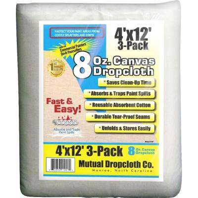 4 ft. x 12 ft. 8 oz. Natural Canvas Drop Cloth (3-Pack)