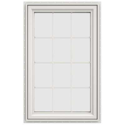 35.5 in. x 47.5 in. V-4500 Series Left-Hand Casement Vinyl Window with Grids - White