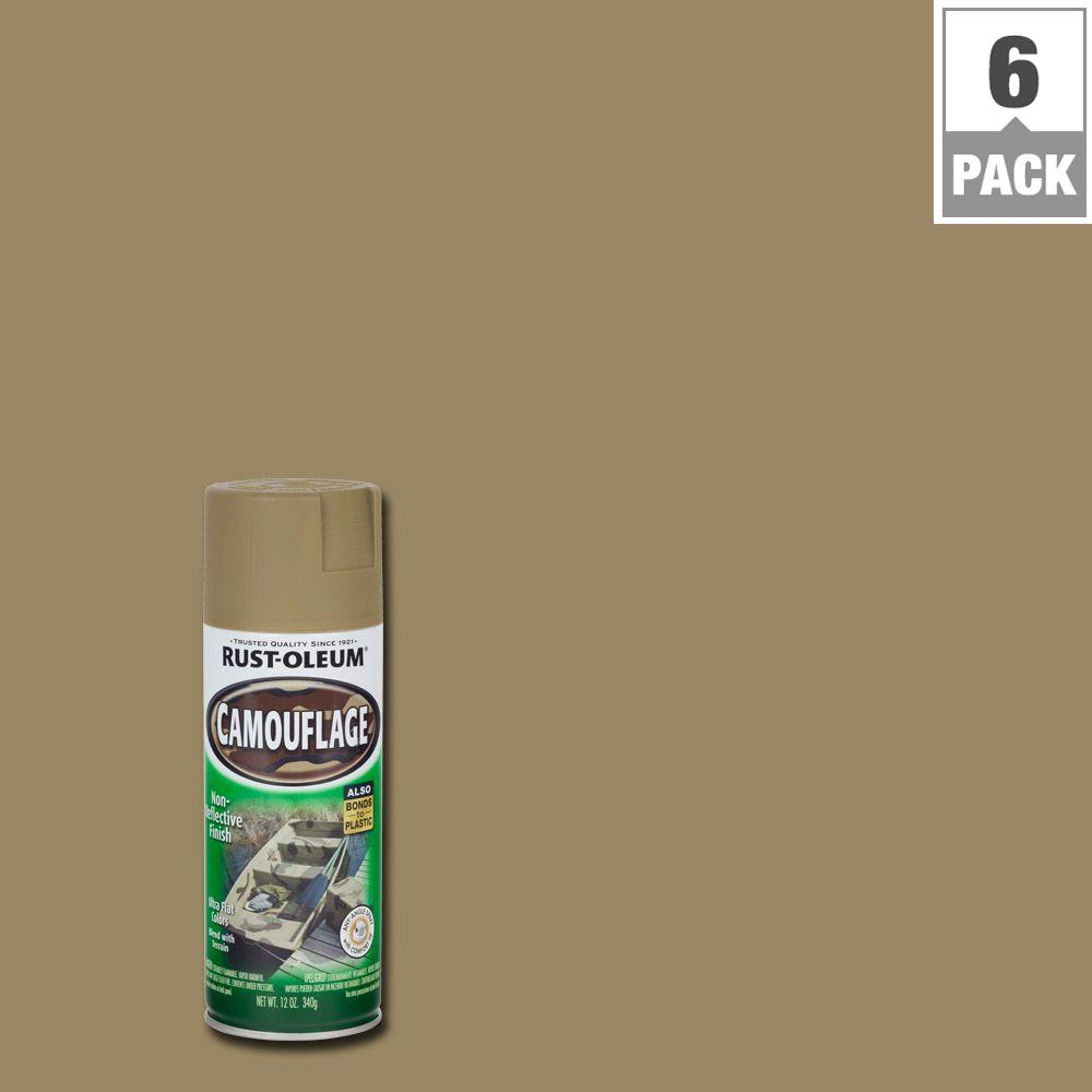 Rust Oleum Specialty 12 Oz Khaki Camouflage Spray Paint 6 Pack 1917830 The Home Depot