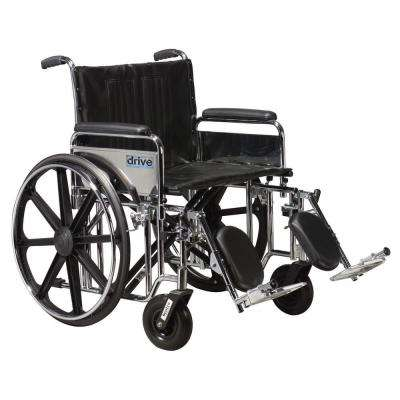 Sentra Extra Heavy Duty Wheelchair with Detachable Full Arms and Elevating Legrest