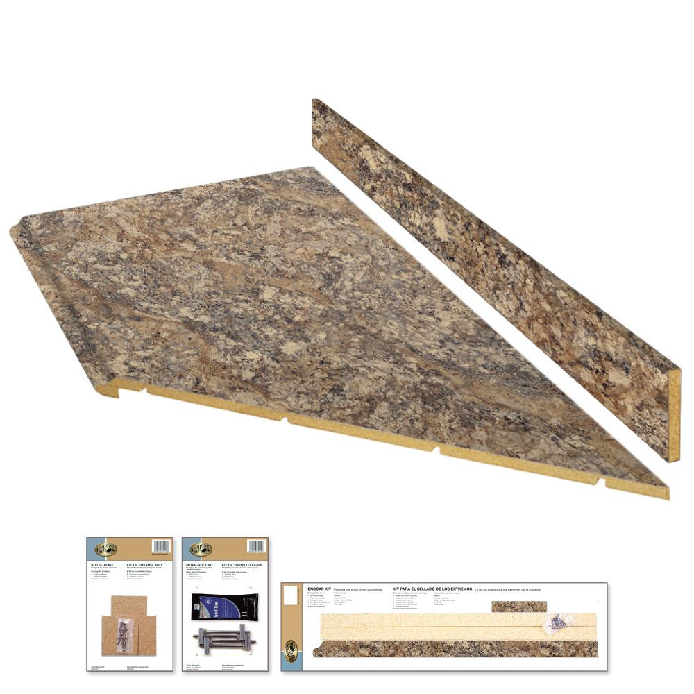 Hampton Bay 8 Ft Laminate Countertop Kit With Right Miter In Winter Carnival Granite With Valencia Edge 12337kt08r1874 The Home Depot